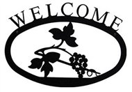 Grapevine Black Metal Welcome Sign Large