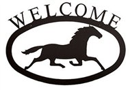 Running Horse Black Metal Welcome Sign Large