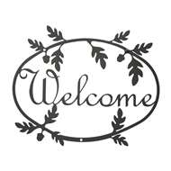 Acorn Black Metal Welcome Sign Medium