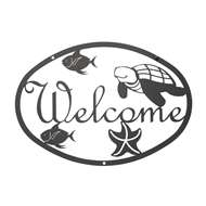 Ocean Black Metal Welcome Sign Medium