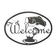 Bass Black Metal Welcome Sign Medium