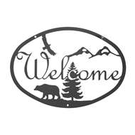 Bear Black Metal Welcome Sign Medium