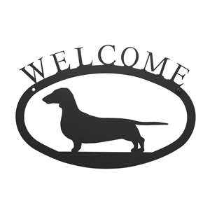 Black Metal Welcome Sign Small - Dachshund