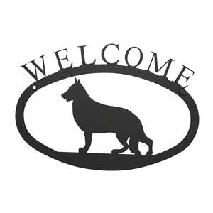 Black Metal Welcome Sign Small - German