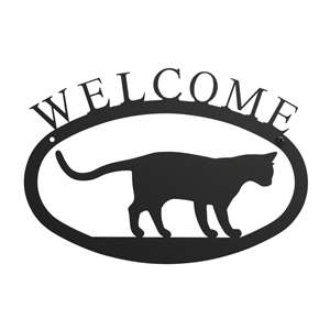 Black Metal Welcome Sign Small - Cat at Play