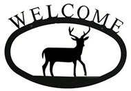 Deer Black Metal Welcome Sign - Large