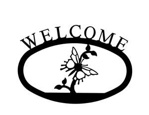 Butterfly Black Metal Welcome Sign - Large