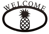 Pineapple Black Metal Welcome Sign -Large