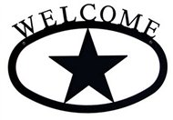 Star Black Metal Welcome Sign -Large