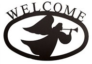 Angel Black Metal Welcome Sign -Large