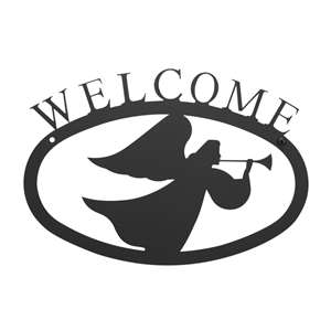 Angel Black Metal Welcome Sign -Small
