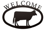 Cow Black Metal Welcome Sign -Large