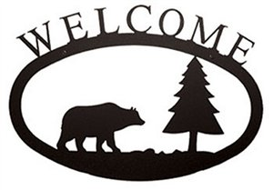 Bear & Pine Black Metal Welcome Sign -Large