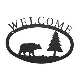 Bear & Pine Black Metal Welcome Sign -Small