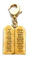 Ten Commandments Charm Dangle in Gold