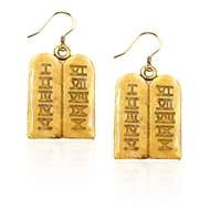 Ten Commandments Charm Earrings in Gold