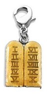 Ten Commandments Charm Dangle in Silver