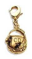 CD Player & Headphone Charm Dangle in Gold