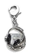 CD Player & Headphone Charm Dangle in Silver