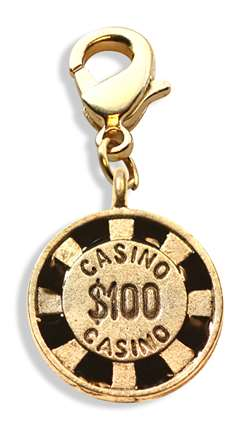Casino Chip Charm Dangle in Gold