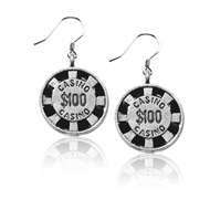 Casino Chip Charm Earrings in Silver
