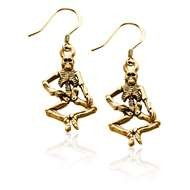 Skeleton Charm Earrings in Gold