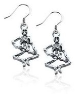 Skeleton Charm Earrings in Silver