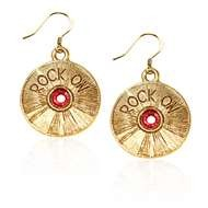 Rock On CD Charm Earrings in Gold