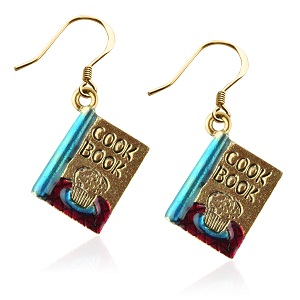 Cook Book Charm Earrings In Gold