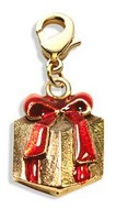 Christmas Present Charm Dangle in Gold