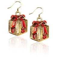 Christmas Present Charm Earrings in Gold