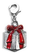 Christmas Present Charm Dangle in Silver