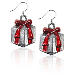 Christmas Present Charm Earrings in Silver