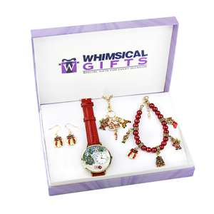 Christmas Gold 4-Piece Watch-Bracelet-Necklace-Earrings Jewelry Set