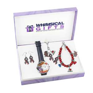American Patriotic July 4th  Silver 4-Piece Watch-Bracelet-Necklace-Earrings Jewelry Set
