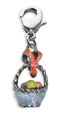 Easter Basket Charm Dangle in Silver