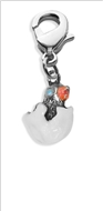 Easter Chick Charm Dangle in Silver
