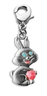 Easter Bunny Charm Dangle in Silver