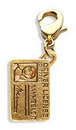 Driver's License Charm Dangle in Gold