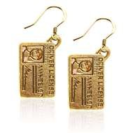 Driver's License Charm Earrings in Gold
