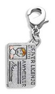 Driver's License Charm Dangle in Silver