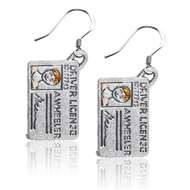Driver's License Charm Earrings in Silver