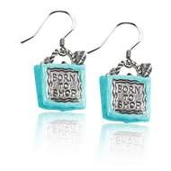 Born to Shop Bag Charm Earrings in Silver