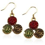Casino Chips Charm Earrings in Gold