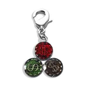 Casino Chips Charm Dangle in Silver