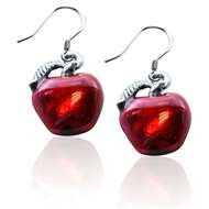 Red Apple Charm Earrings in Silver