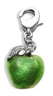 Green Apple Charm Dangle in Silver