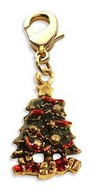 Christmas Tree Charm Dangle in Gold