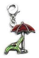 Beach Chair with Umbrella Charm Dangle in Silver