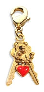Keys with Heart Charm Dangle in Gold